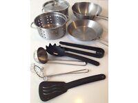 Kids Kitchen Accessories Pots Pans Utensils Food Play