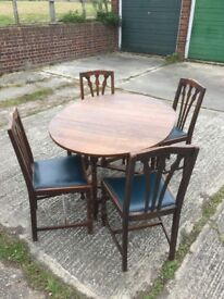 Dark Oak Drop Leaf Table and 4 Chairs
