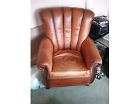 Beautiful soft brown leather chair from John Lewis