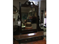 Charming Antique Mahogany Table Top Swivel Vanity Dresser Mirror w 2 Drawers or Hallway Key-holder