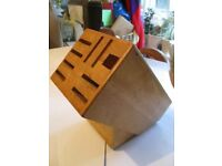 BAMBOO WOODEN KNIFE SCISSOR BLOCK KITCHEN USED SOLID 8 SLOTS