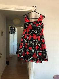 Black and red flowers dress size 12 brand new