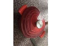 red heart shaped le creuset pot