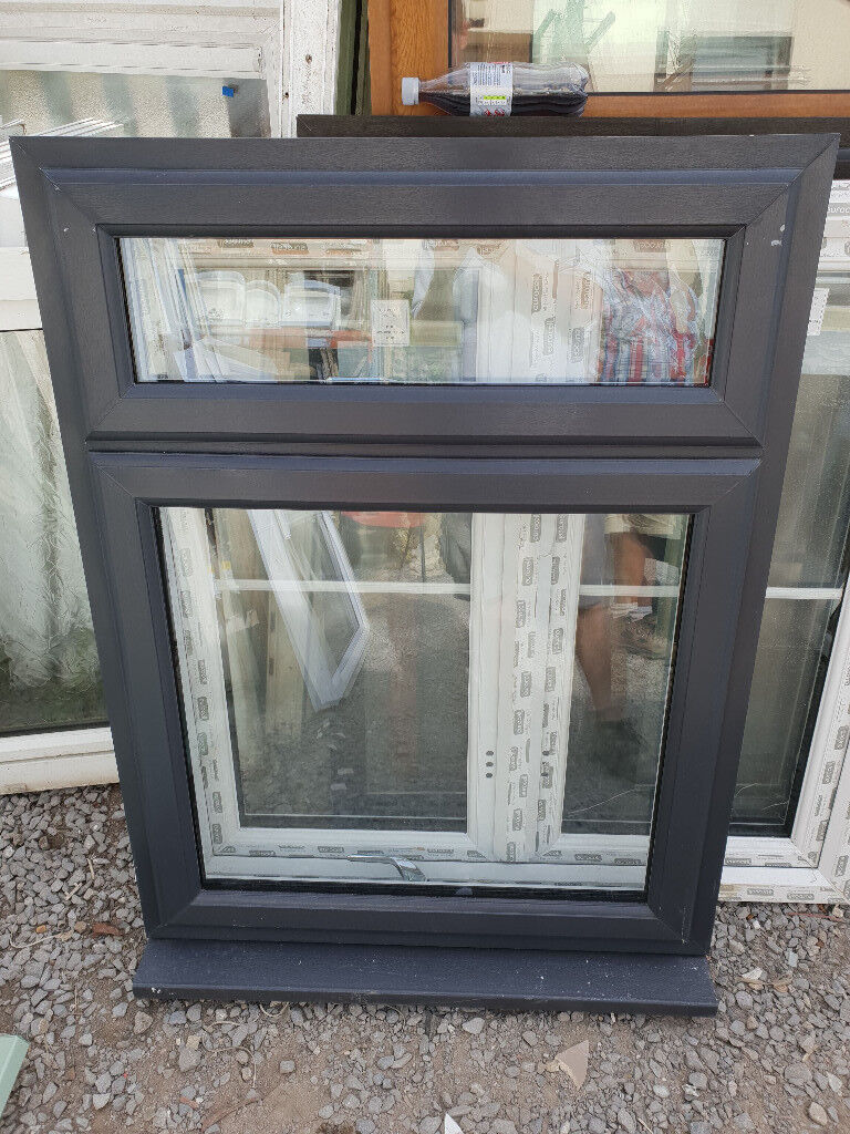 New Anthracite Grey On White Upvc Window 90cm W X 117cm H In