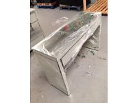 GLASS MIRRORED VANITY DRESSING CONSOL TABLE 2 DRAWERS
