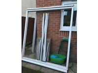 Patio door & frame with lock and key.