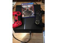 Ps4 console 1 game 4 blu-ray and 2 official controllers