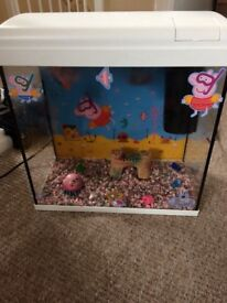 Peppa pig fish tank with ornaments