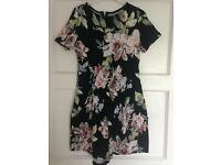 Floral black playsuit, worn once size 10