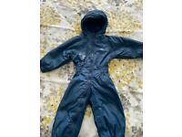 Kids Navy Tresspass fleece lined all in one puddle/snow suit age 12-18 months.