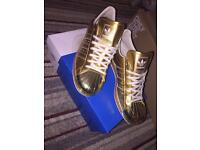 Adidas Superstar 80s Gold Metal Metallic trainers sneakers - UK Size 8 - Great Condition