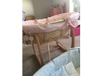 Pink/blue mamas and papas Moses basket and stand