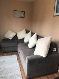Suedette metal action corner sofa bed