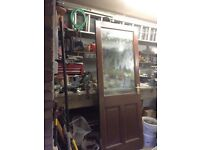 Wooden half glazed door