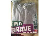 Ladies grey size s brave the shave t-shirt