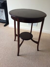 Round occasional table, dark wood, 2ft diameter, FREE