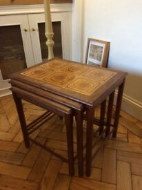 Vintage Danish style best of 3 tables with ceramic tile tops