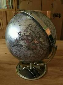 John Lewis 22cm Silver globe with chrome-plated stand & gyromatic mount. Boxed