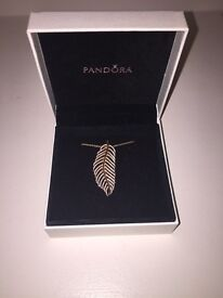 Pandora Rose Gold Feather Pendant and Chain
