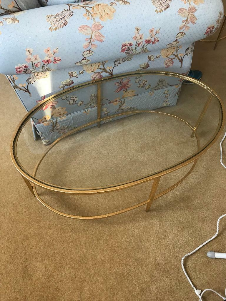 Brand New Glass Coffee Table With Gold Trim In Fulham London - Glass coffee table with gold trim