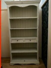 LOMBOK Distressed Wooden Bookcase Cabinet Dresser With 2 Drawers.Large Shelves