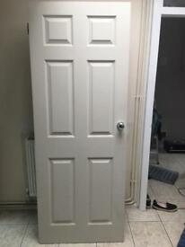 2x 6 panel moulded doors with knobs and hinges