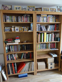 A pair of Ikea Hemnes bookcase shelf units