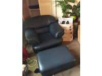 Very comfy leather armchair with footstool. Perfect for gaming!