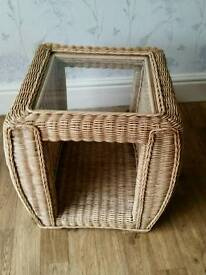 Rattan / Wicker Side Table with Glass Top.
