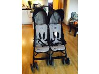Chicco echo twin pushchair with rain cover, sitting & reclining positions, hardly used, almost new