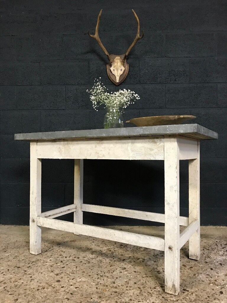 Vintage Industrial Zinc Top Kitchen Table