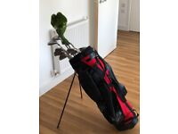 Full Set of Ben Sayers Golf Clubs and Maxfli stand-bag. Mixed drivers.
