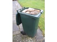 £25 FREE IPSWICH DELIVERY - (240l LARGE WHEELIE BIN LOAD) OF SPLIT SEASONED HARDWOOD LOGS FIREWOOD