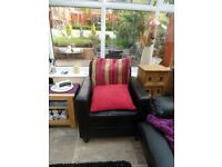 faux leather chunky square armchair