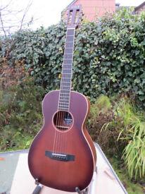 Auden Emily Rose Parlour Guitar - Tobacco Sunburst Mahogany & Cedar, Schertler Electronics & Case