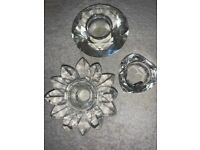 3 x Various Crystal / Glass Candle Holders IP1