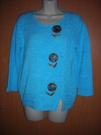 TOUCH JUMPER TUQUOISE SIZE 12/14.SUPER SUMMER COTTON