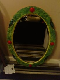 Mirror - oval framed with bevilled edged mirror