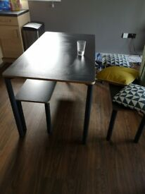 Made Mino Dining Table and bench set (small damage to Table)