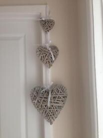 Trio wicker hanging hearts