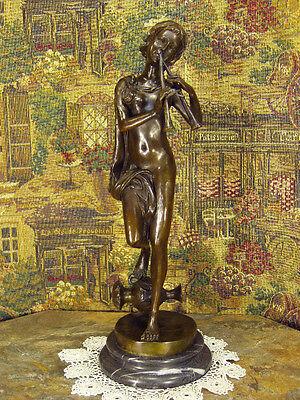 Fine Bronze Metal Statue Musician Playing Ancient Flute Auloi Greek Tibia Roman