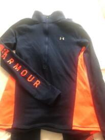 Ladies Under Armour leggings & zipped training top Small