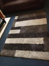 Brown cream block rug