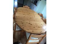 Solid Pine Extending Dining Table & 6 Chairs.