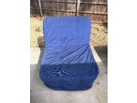 Ikea Lycksele folding chair bed, metal and wood frame with foam mattress and cover