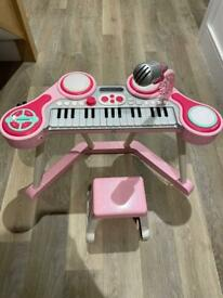 Early Learning Centre (ELC) keyboard and microphone with stool