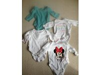 8 GIRLS LONG SLEEVED BODY SUITS - AGE 0-3MONTHS