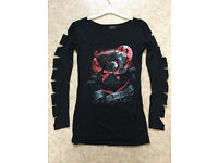 "Ladies Gothic / Horror Top. New In Packet. ""Ted The Impaler"" Size M (approx 10/12)"
