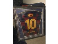 Authentic signed framed Lionel Messi Barcelona top