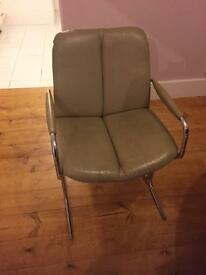 Vintage Pieff Eleganza beige leather chrome dining chairs x2
